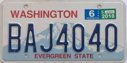 2018 Washington (Single) license plate for sale