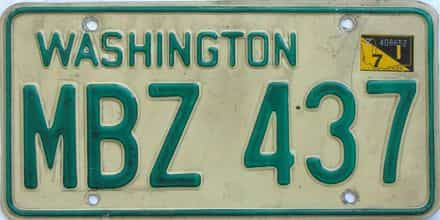 1971 Washington (Single) license plate for sale