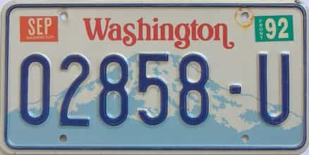 1992 Washington (Natural Single) license plate for sale