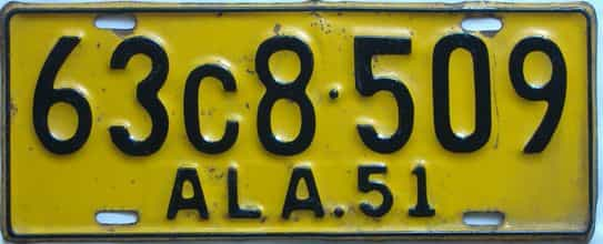1951 Alabama license plate for sale