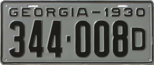 YOM 1930 Georgia (Very Nice Repaint) license plate for sale