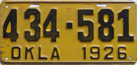 1926 Oklahoma license plate for sale