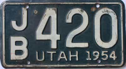 1954 Utah  (Single) license plate for sale