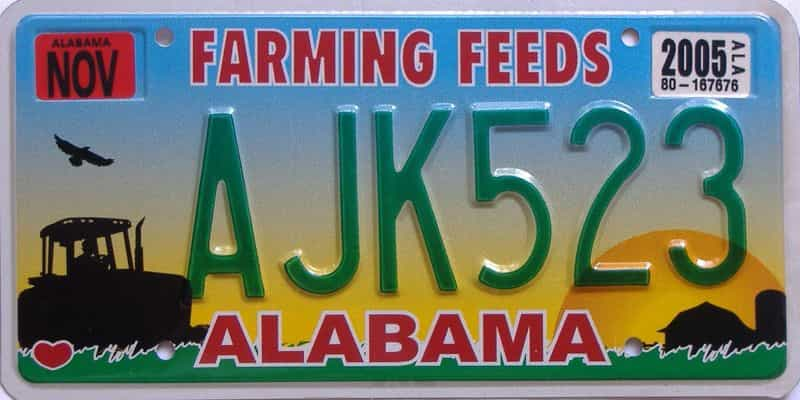 2005 Alabama (Natural) license plate for sale