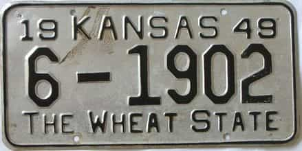 1949 Kansas license plate for sale