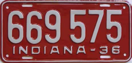 RESTORED 1936 Indiana (Single) license plate for sale