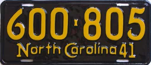 RESTORED 1941 North Carolina (Single) license plate for sale