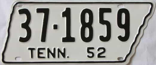 RESTORED 1952 Tennessee (Single) license plate for sale
