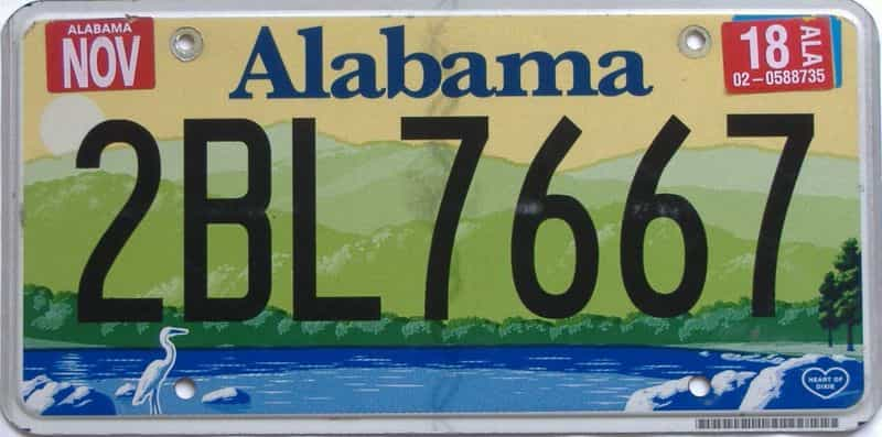 2018 Alabama license plate for sale