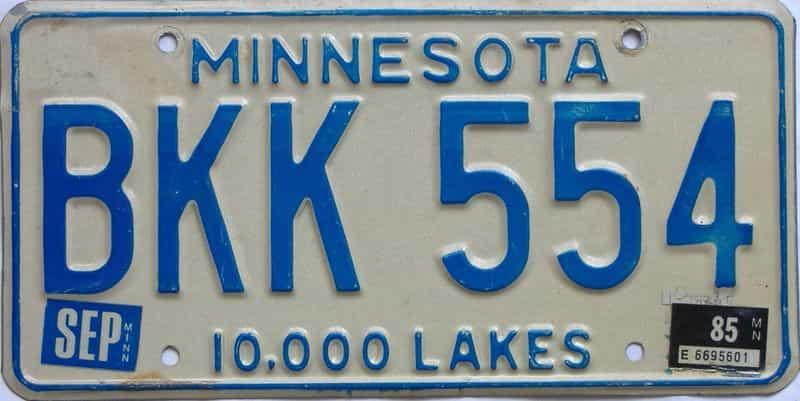 1985 Minnesota  (Single) license plate for sale