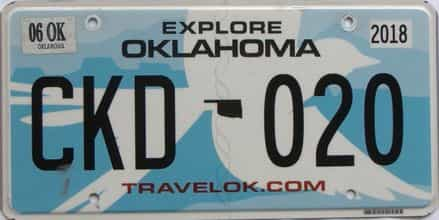 2018 Oklahoma license plate for sale