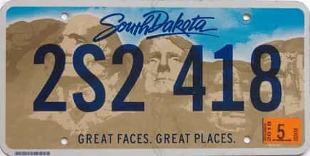 2018 South Dakota (Single) license plate for sale
