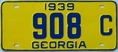 YOM RESTORED 1939 Georgia (Single) license plate for sale