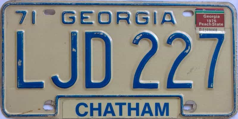 YOM 1975 Georgia license plate for sale
