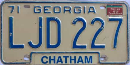 YOM 1975 Georgia YOM 1971 - 1989 license plate for sale