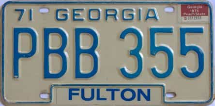 YOM 1975 Georgia YOM 1971 - 1989  (Natural) license plate for sale