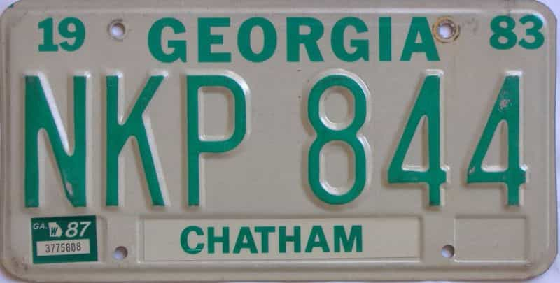 YOM 1987 Georgia YOM 1971 - 1989  (Natural) license plate for sale