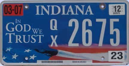 2012 Indiana license plate for sale