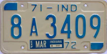 1971 Indiana license plate for sale
