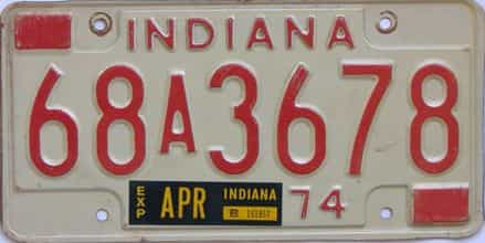 1974 Indiana license plate for sale