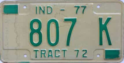 1977 Indiana (Non Passenger) license plate for sale