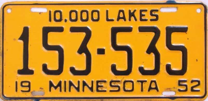 1952 MN (single) license plate for sale