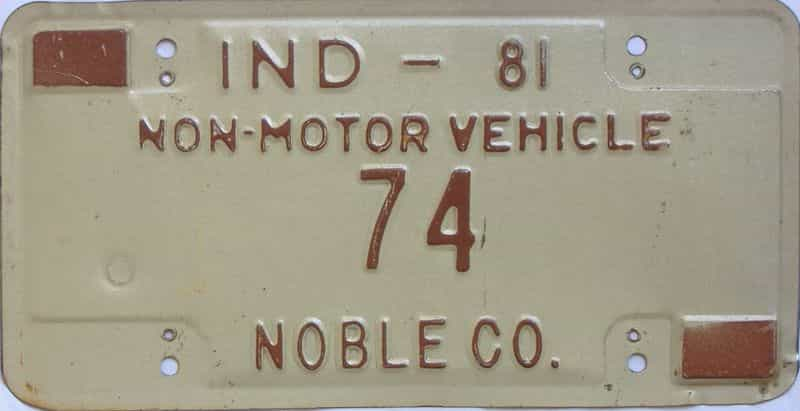 1981 Indiana  (Non Passenger) license plate for sale