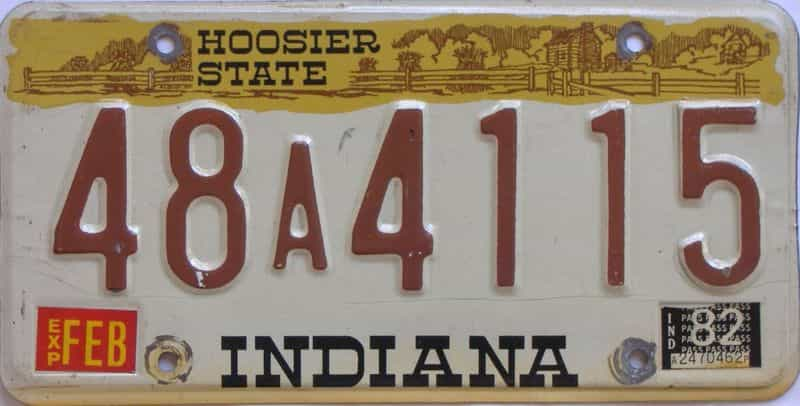 1982 Indiana license plate for sale