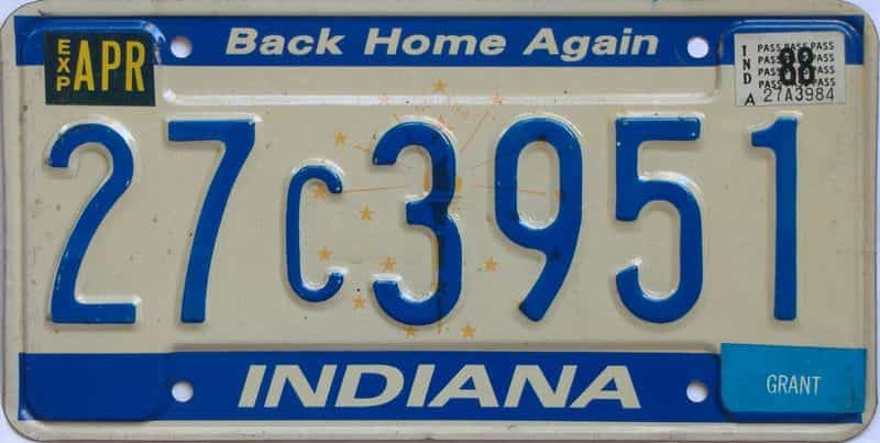1988 Indiana license plate for sale