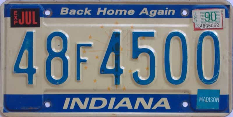 1990 Indiana license plate for sale