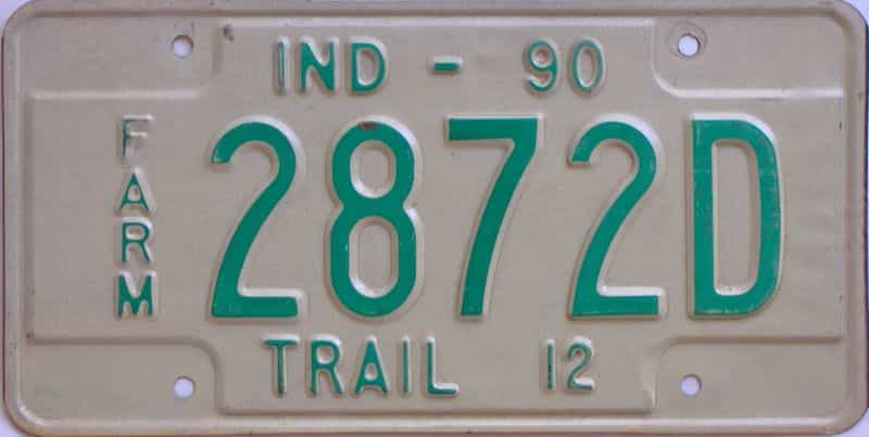 1990 Indiana  (Farm) license plate for sale