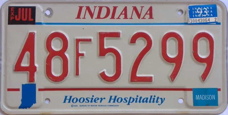 1993 Indiana license plate for sale