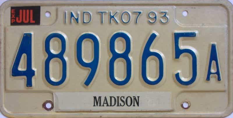 1993 Indiana  (Truck) license plate for sale