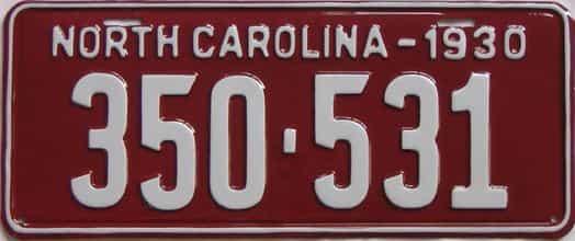 RESTORED 1930 North Carolina (Single) license plate for sale