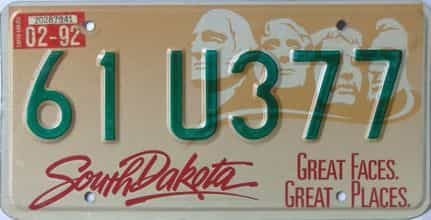1992 South Dakota (Single) license plate for sale
