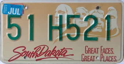 1993 South Dakota (Single) license plate for sale