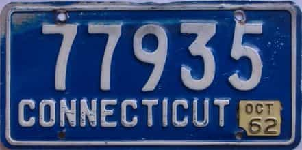 1962 Connecticut (Single) license plate for sale