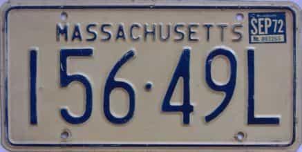 1972 Massachusetts license plate for sale