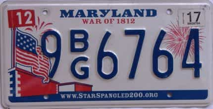 2017 Maryland (Single) license plate for sale