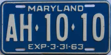 1963 Maryland (Single) license plate for sale