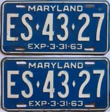 1963 Maryland (Pair) license plate for sale