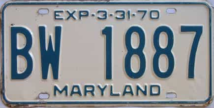 1970 Maryland (Single) license plate for sale