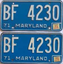 1972 Maryland (Pair) license plate for sale