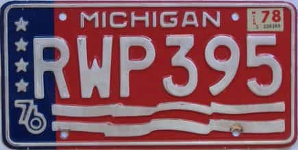 1978 Michigan (Single) license plate for sale