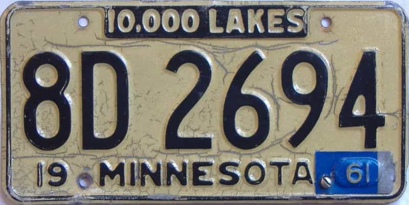 1961 Minnesota  (Single) license plate for sale