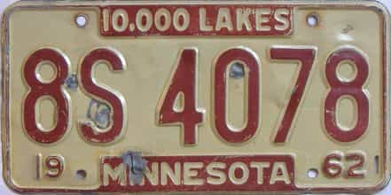 1962 Minnesota (Single) license plate for sale