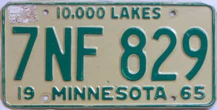 1965 Minnesota (Single) license plate for sale