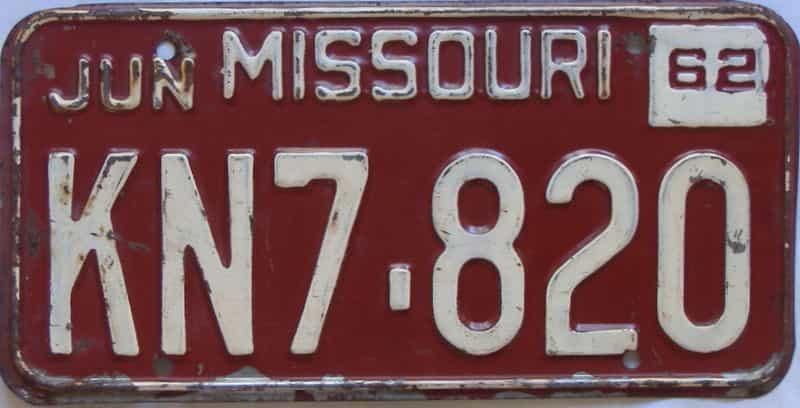 1962 Missouri license plate for sale