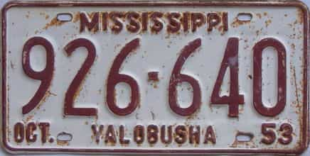 1953 Mississippi license plate for sale