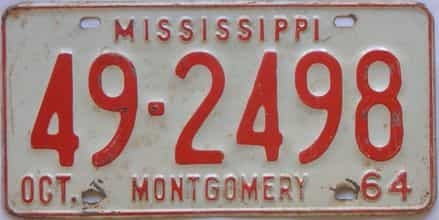1964 Mississippi license plate for sale